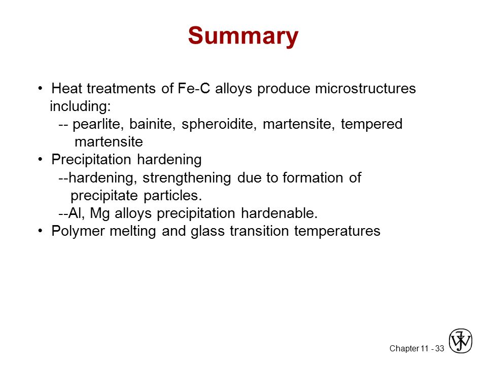 Summary • Heat treatments of Fe-C alloys produce microstructures including: