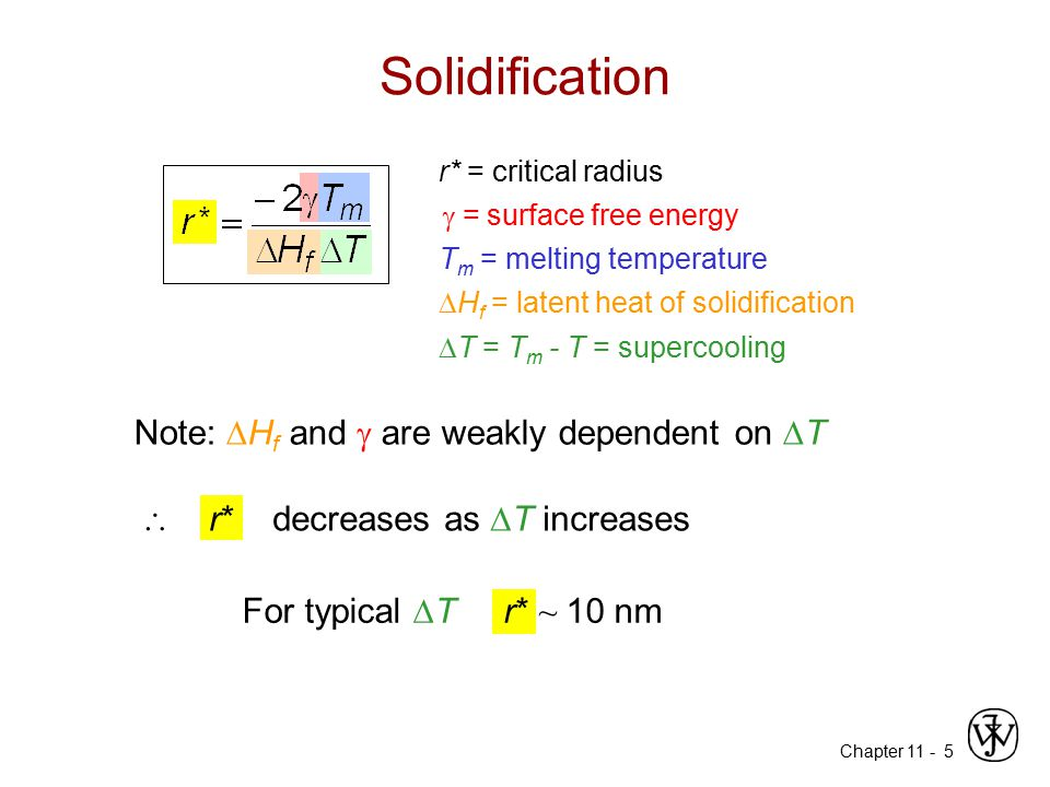 Solidification Note: Hf and  are weakly dependent on T