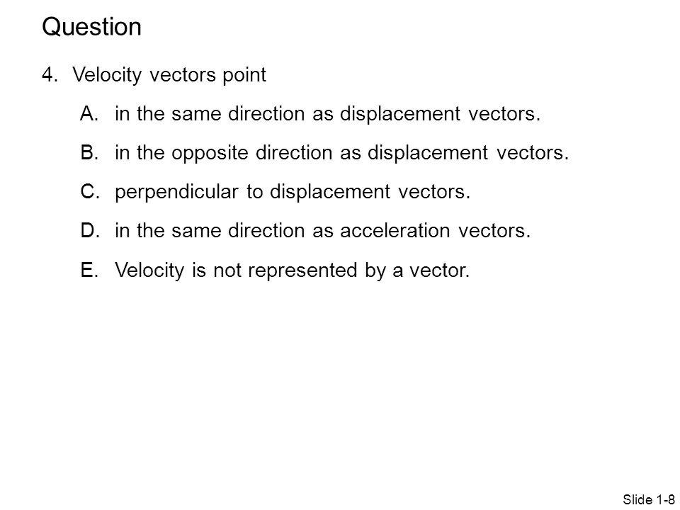 Question Velocity vectors point