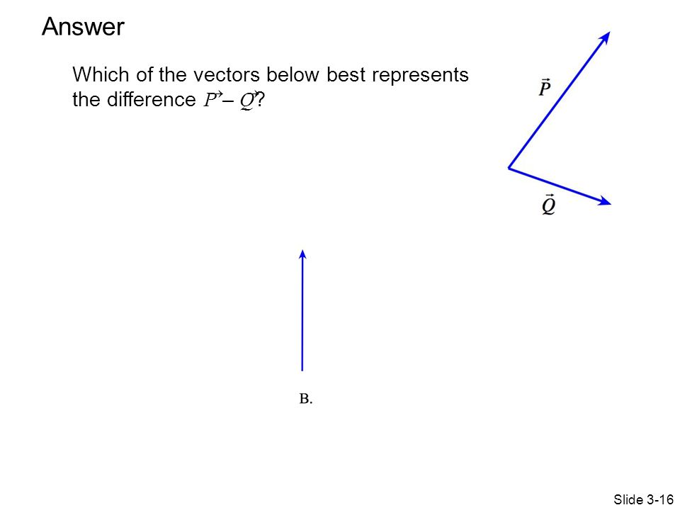Answer Which of the vectors below best represents the difference P – Q   Answer: B Slide 3-16