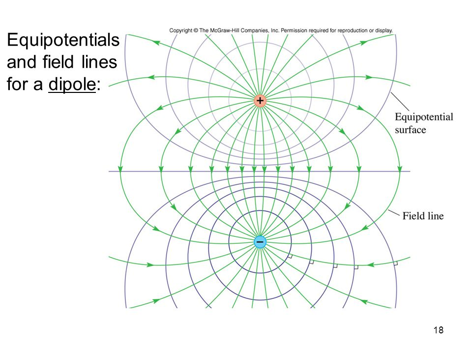 Equipotentials and field lines for a dipole:
