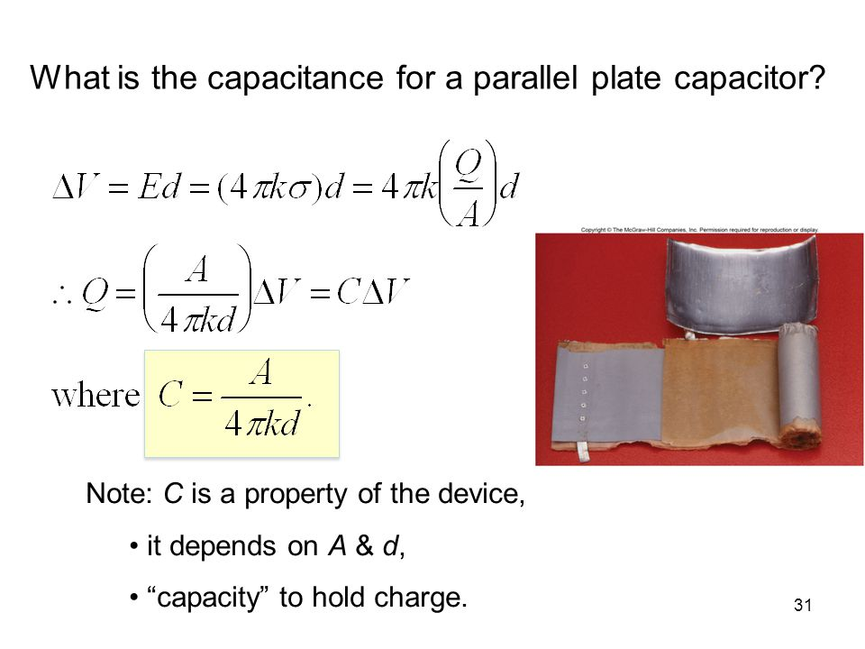 What is the capacitance for a parallel plate capacitor