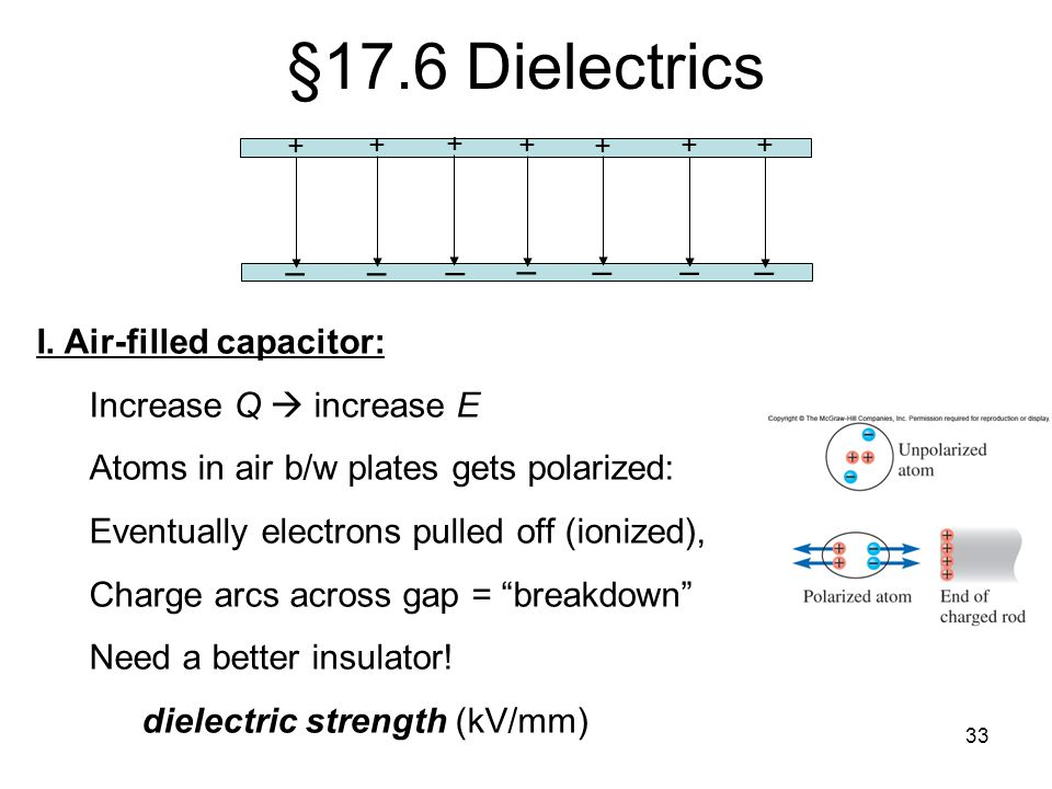 §17.6 Dielectrics – I. Air-filled capacitor: Increase Q  increase E