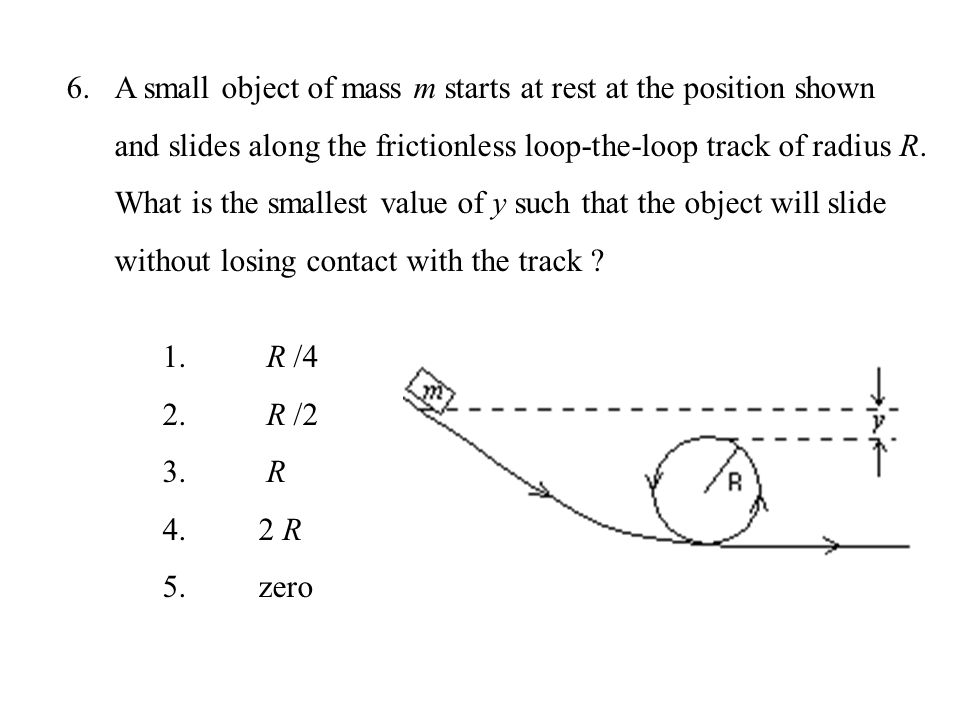 A small object of mass m starts at rest at the position shown and slides along the frictionless loop-the-loop track of radius R. What is the smallest value of y such that the object will slide without losing contact with the track