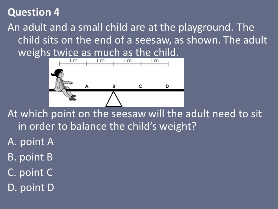 Question 4 An adult and a small child are at the playground