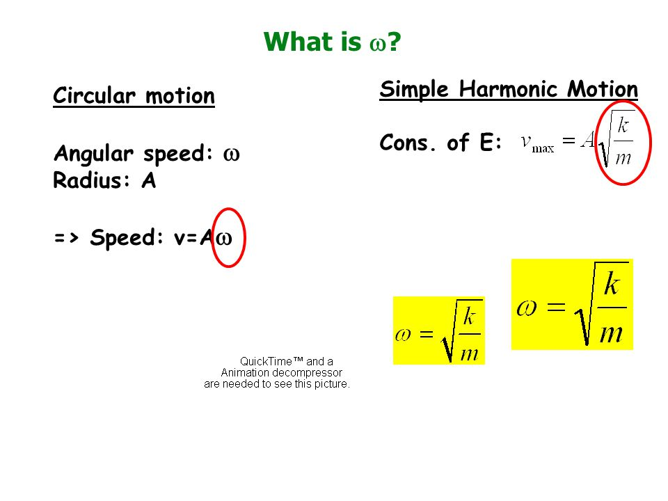 What is w Simple Harmonic Motion Circular motion Cons. of E:
