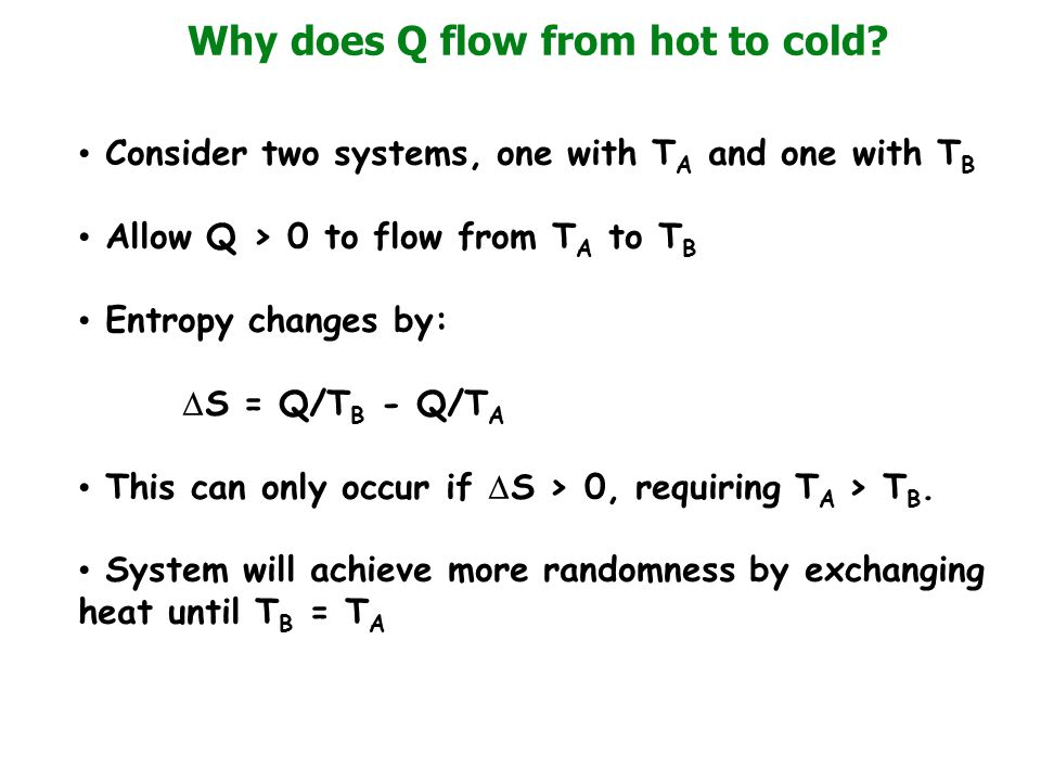 Why does Q flow from hot to cold