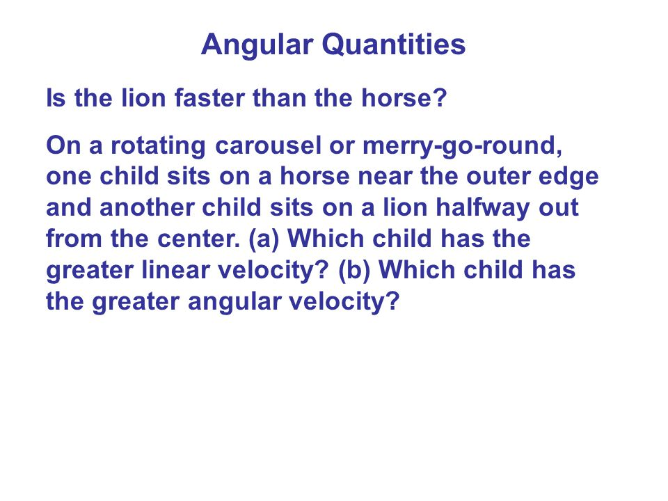 Angular Quantities Is the lion faster than the horse