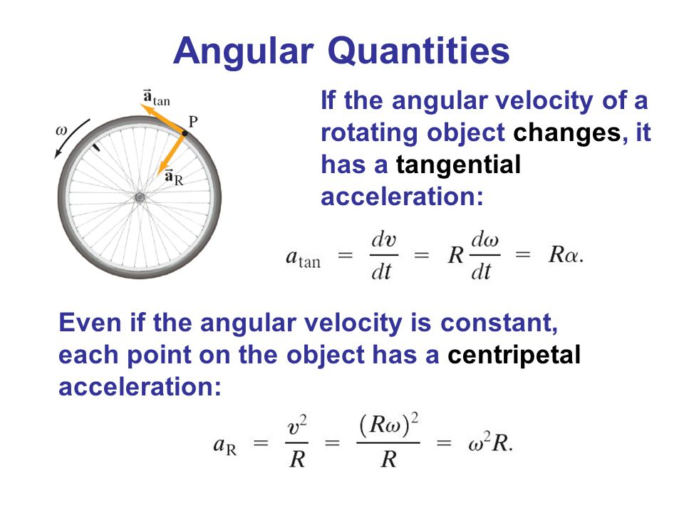 Angular Quantities If the angular velocity of a rotating object changes, it has a tangential acceleration: