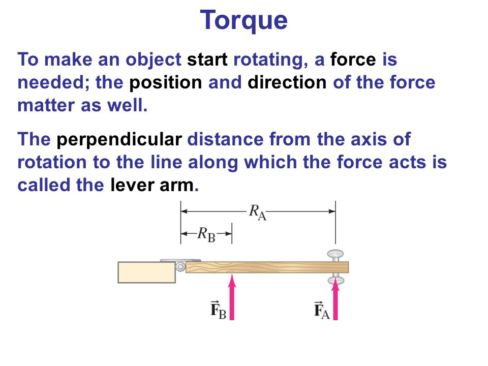 Torque To make an object start rotating, a force is needed; the position and direction of the force matter as well.
