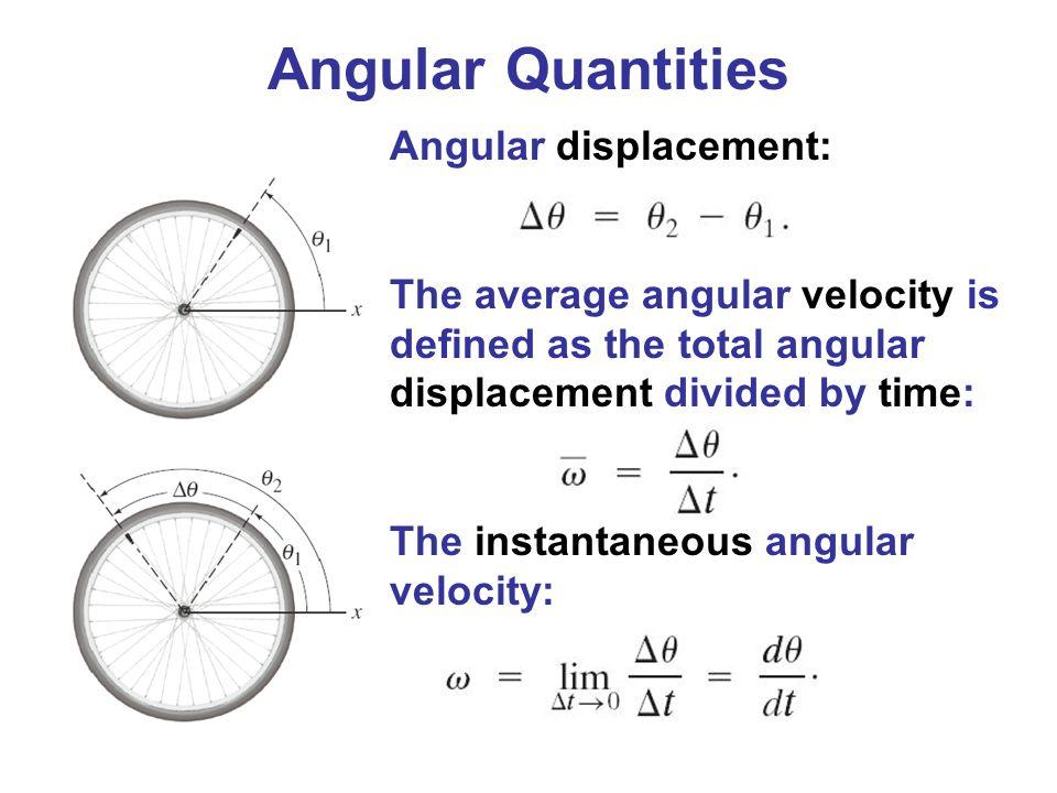 Angular Quantities Angular displacement: