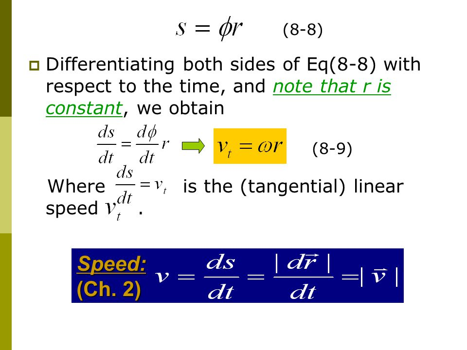 (8-8) Differentiating both sides of Eq(8-8) with respect to the time, and note that r is constant, we obtain.
