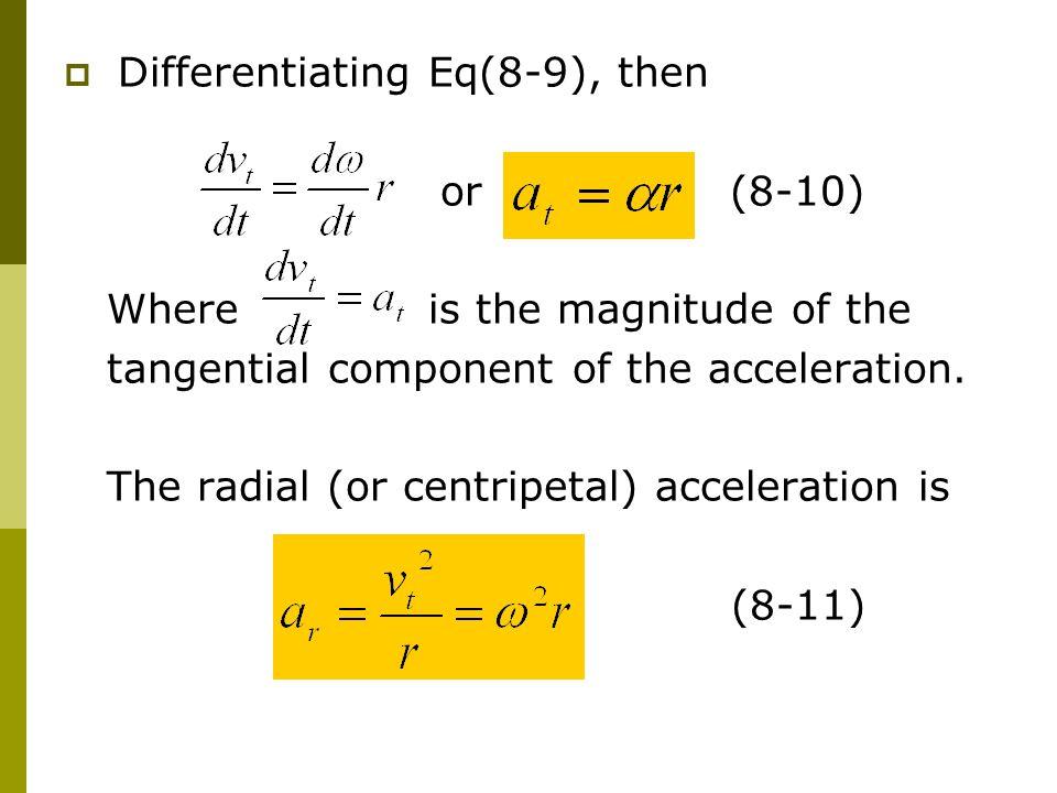 Differentiating Eq(8-9), then