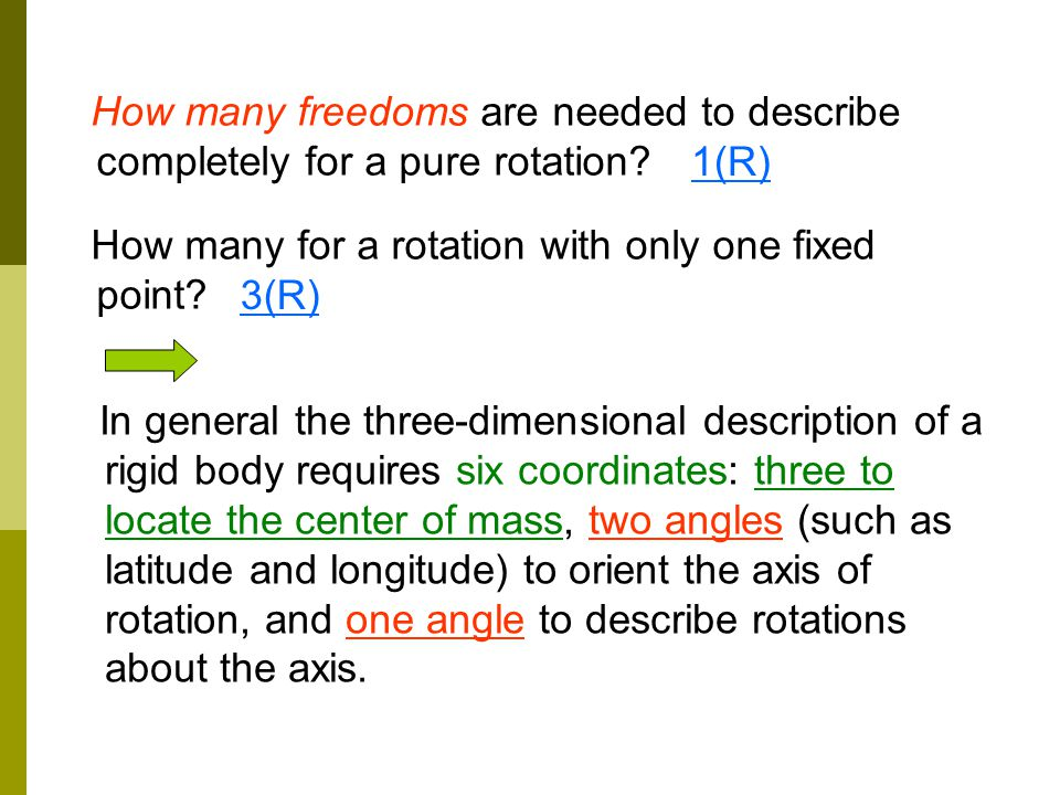 How many freedoms are needed to describe completely for a pure rotation