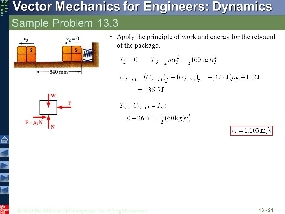 Sample Problem 13.3 Apply the principle of work and energy for the rebound of the package.