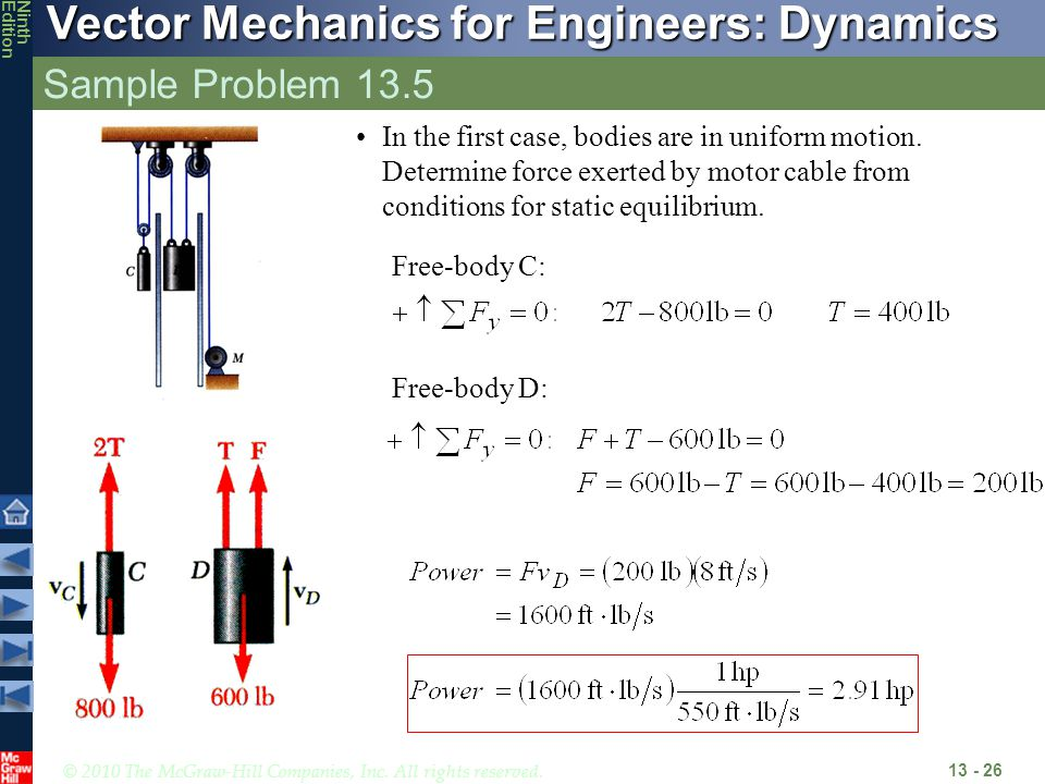 Sample Problem 13.5 In the first case, bodies are in uniform motion. Determine force exerted by motor cable from conditions for static equilibrium.