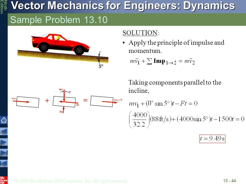 Sample Problem 13.10 SOLUTION: