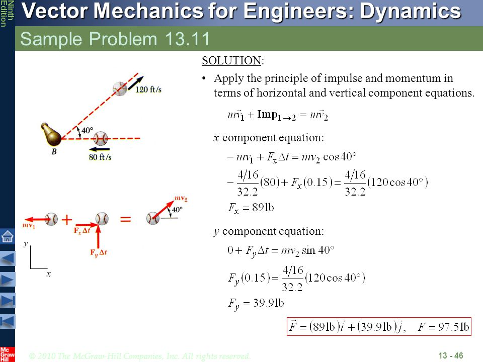 Sample Problem 13.11 x component equation: y component equation:
