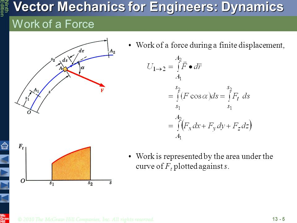 Work of a Force Work of a force during a finite displacement,