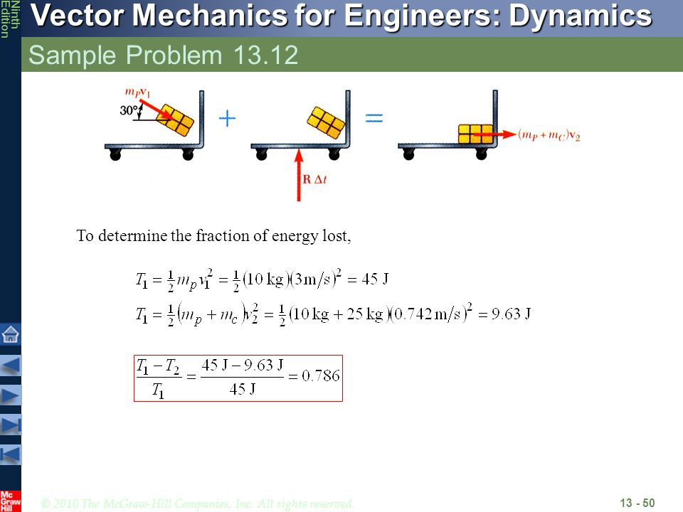 Sample Problem 13.12 To determine the fraction of energy lost,