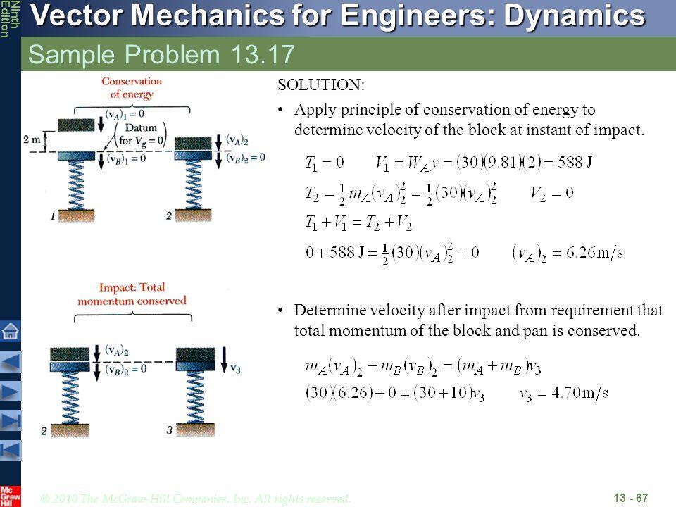 Sample Problem 13.17 SOLUTION: