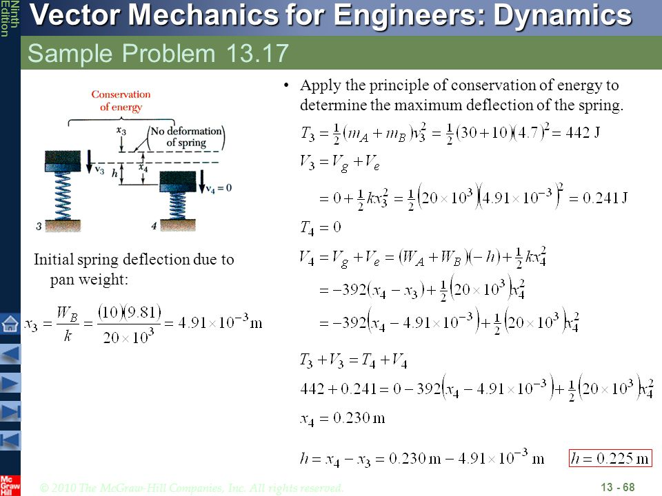 Sample Problem 13.17 Apply the principle of conservation of energy to determine the maximum deflection of the spring.