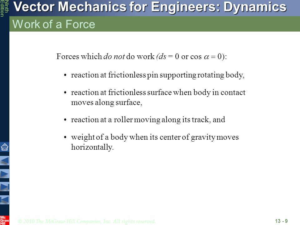 Work of a Force Forces which do not do work (ds = 0 or cos a = 0):