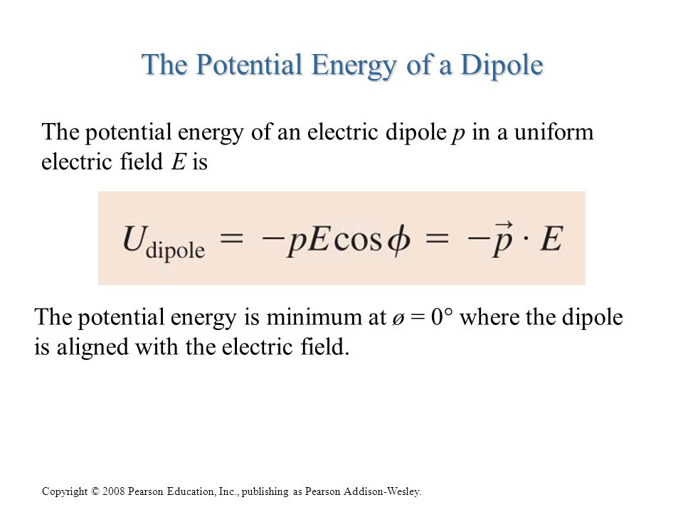 The Potential Energy of a Dipole