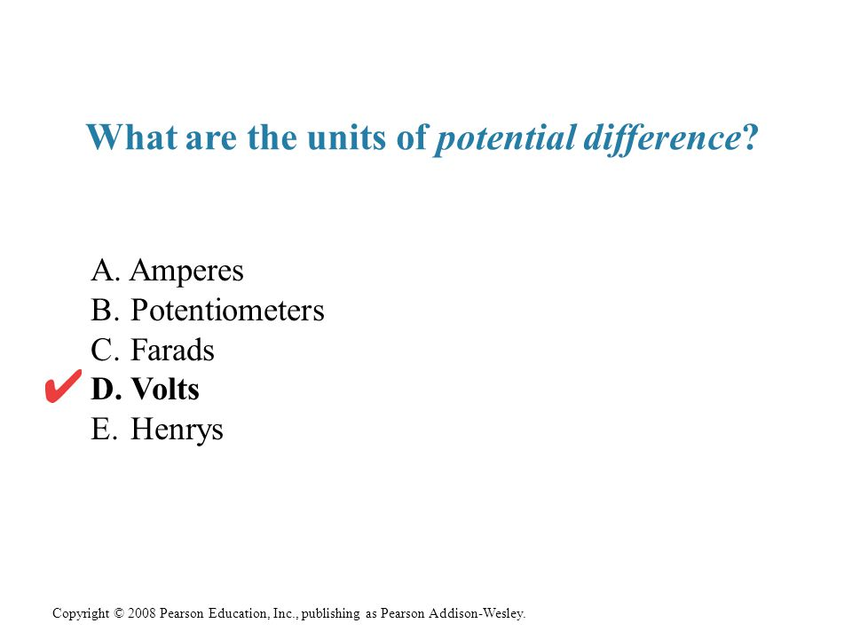 What are the units of potential difference