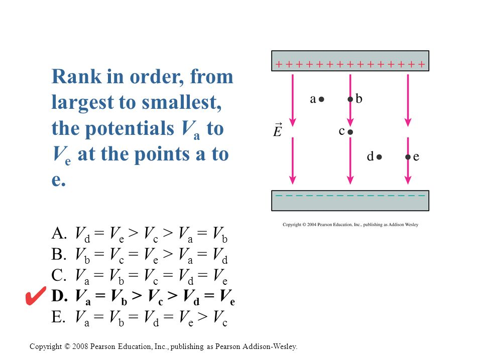 Rank in order, from largest to smallest, the potentials Va to Ve at the points a to e.