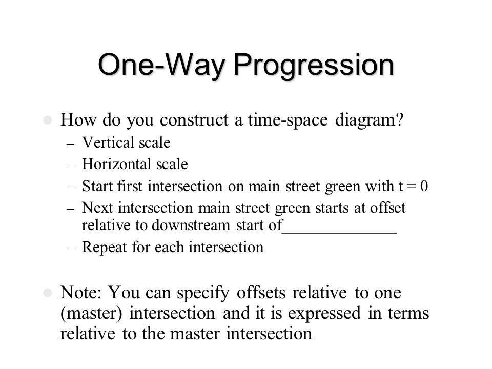 One-Way Progression How do you construct a time-space diagram