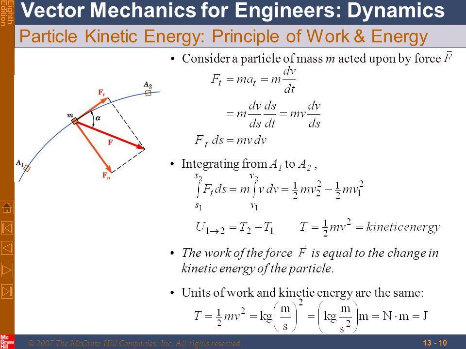 Particle Kinetic Energy: Principle of Work & Energy