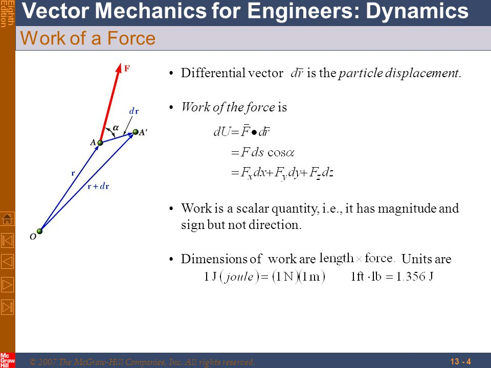 Work of a Force Differential vector is the particle displacement.