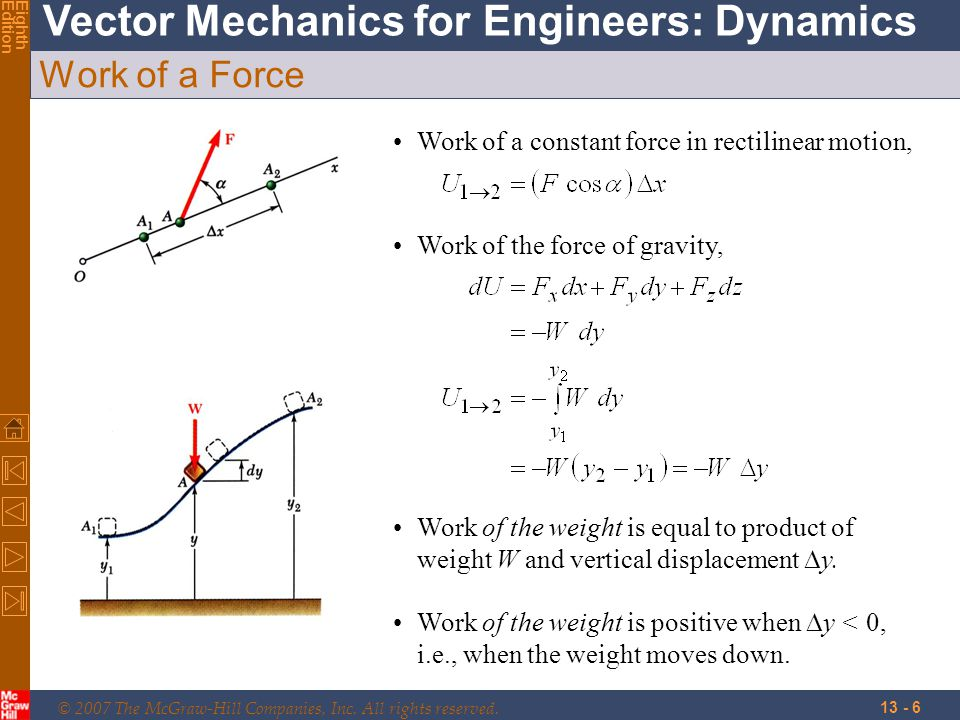 Work of a Force Work of a constant force in rectilinear motion,