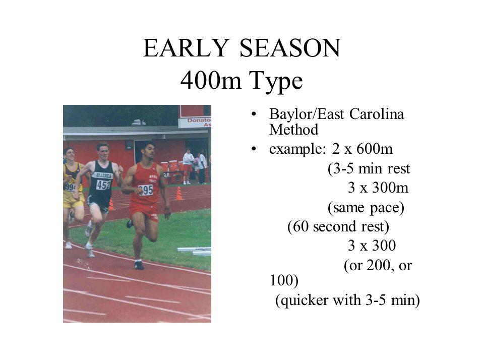 EARLY SEASON 400m Type Baylor/East Carolina Method example: 2 x 600m