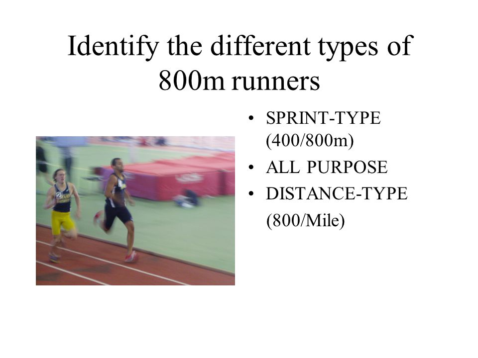 Identify the different types of 800m runners