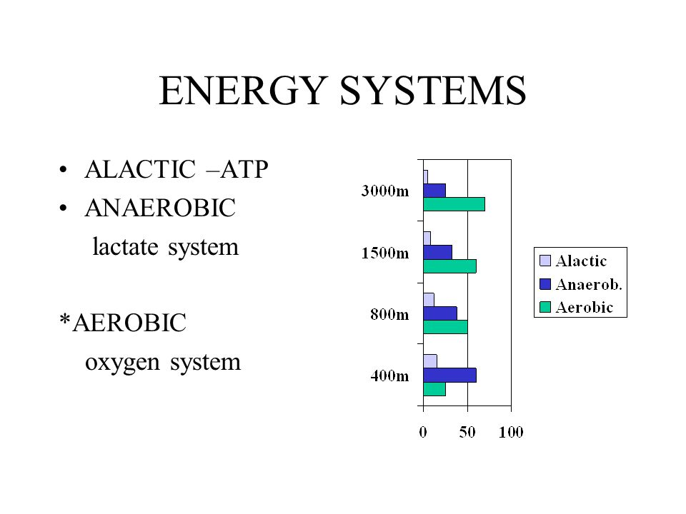 ENERGY SYSTEMS ALACTIC –ATP ANAEROBIC lactate system *AEROBIC