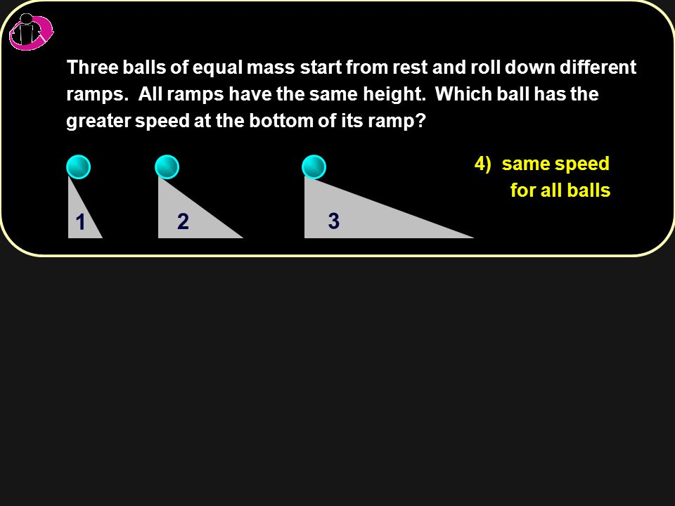 Three balls of equal mass start from rest and roll down different ramps. All ramps have the same height. Which ball has the greater speed at the bottom of its ramp