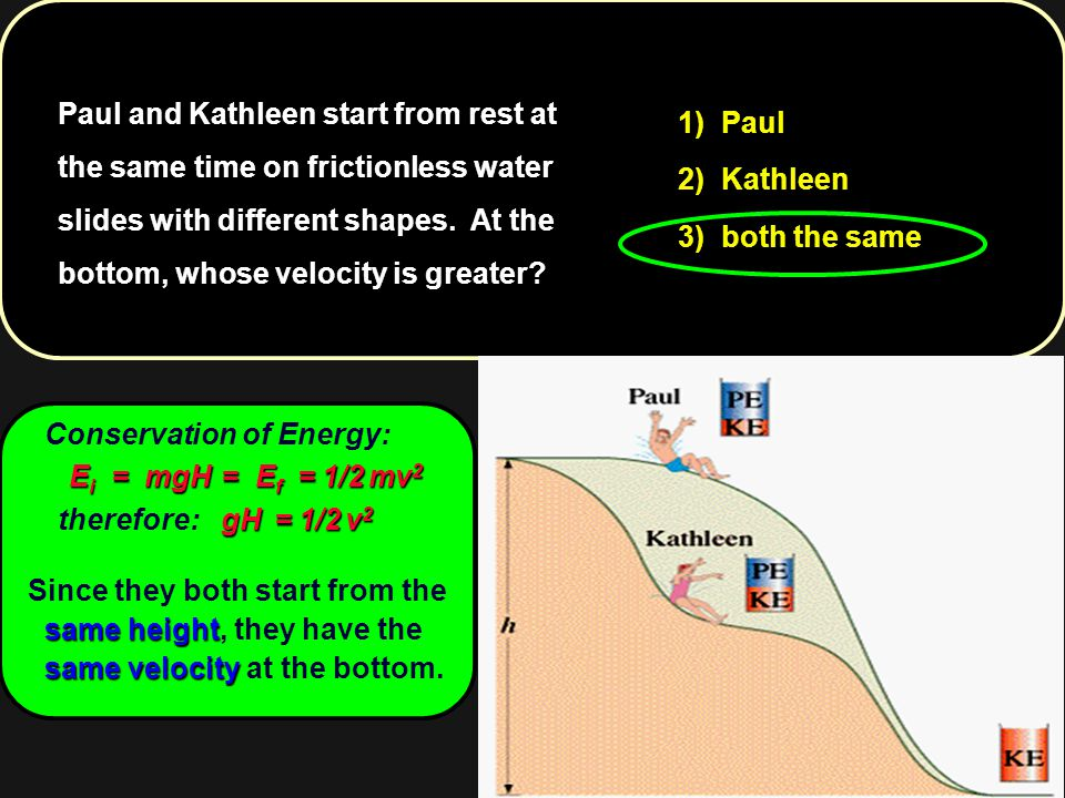 Paul and Kathleen start from rest at the same time on frictionless water slides with different shapes. At the bottom, whose velocity is greater