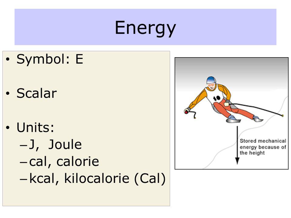Energy Symbol: E Scalar Units: J, Joule cal, calorie
