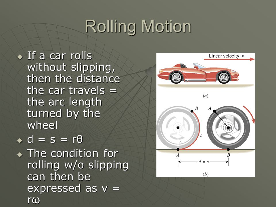 Rolling Motion If a car rolls without slipping, then the distance the car travels = the arc length turned by the wheel.