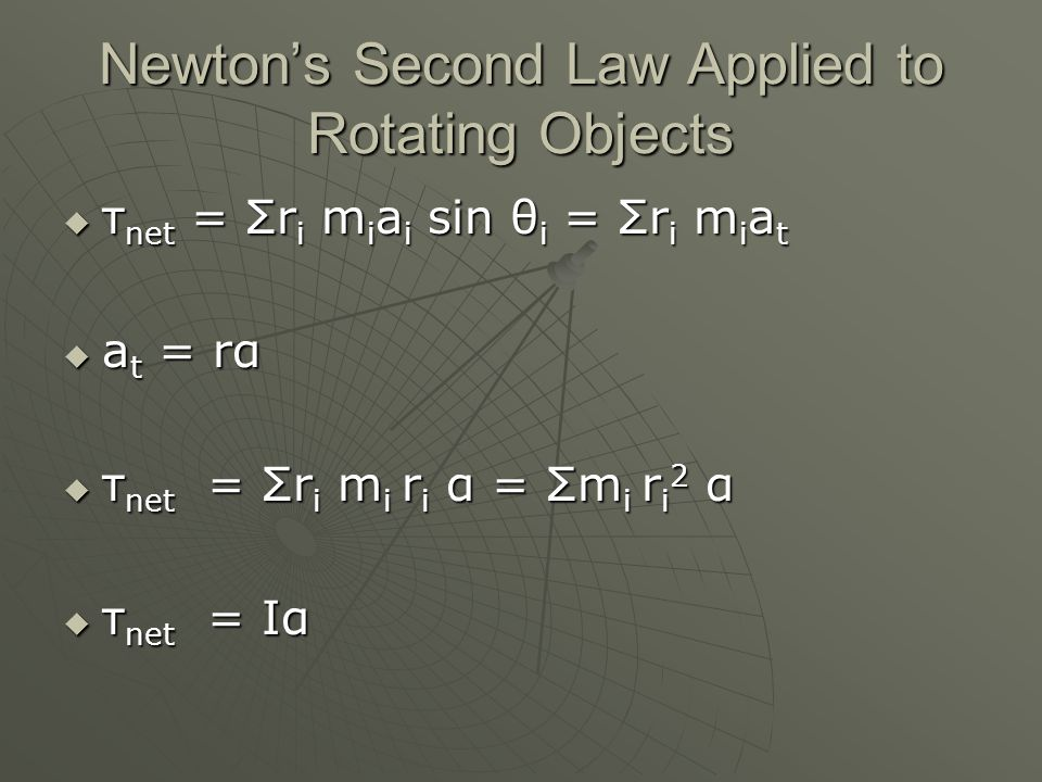 Newton's Second Law Applied to Rotating Objects