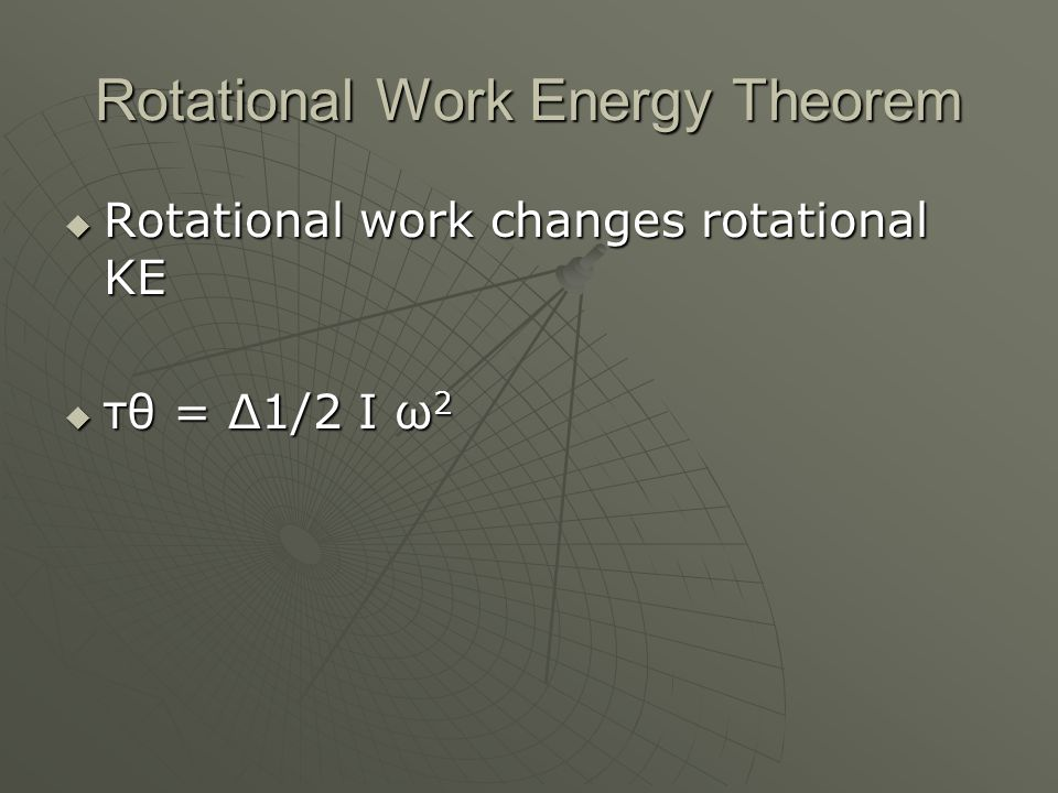 Rotational Work Energy Theorem