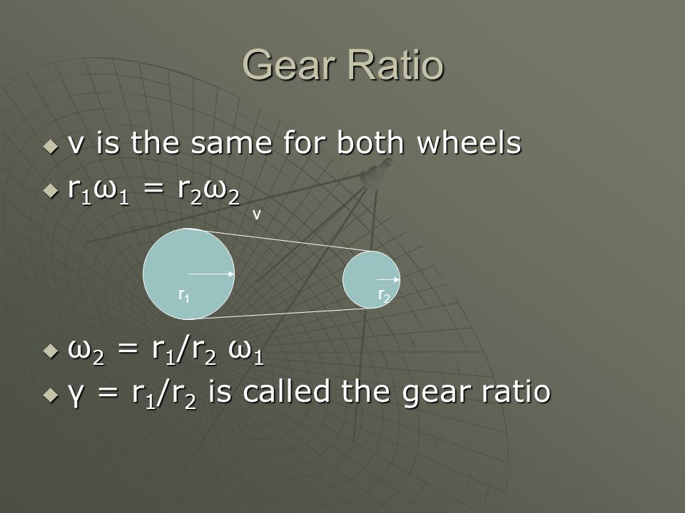 Gear Ratio v is the same for both wheels r1ω1 = r2ω2 ω2 = r1/r2 ω1
