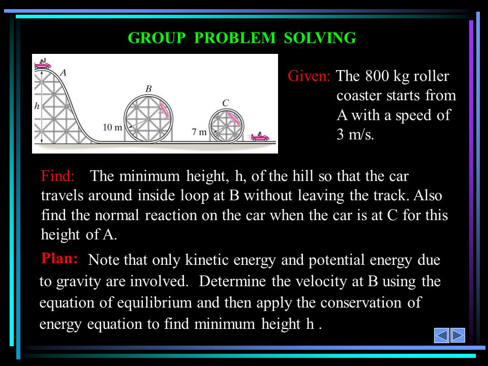 GROUP PROBLEM SOLVING Given: The 800 kg roller coaster starts from A with a speed of. 3 m/s.