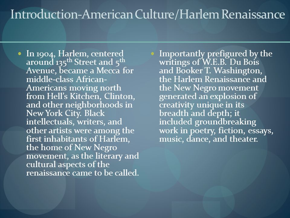 Introduction-American Culture/Harlem Renaissance