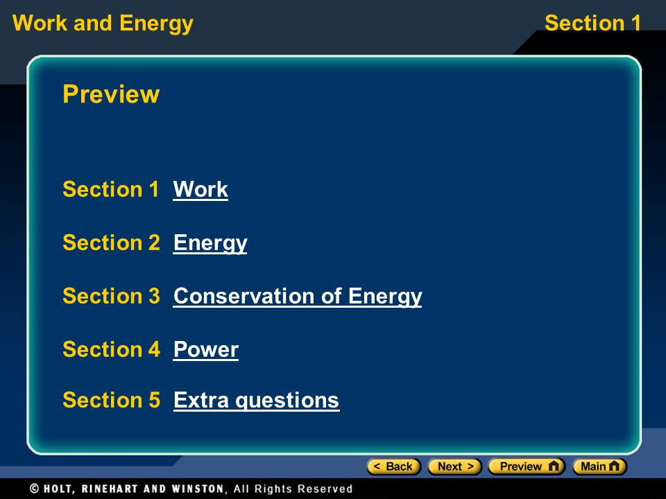Preview Section 1 Work Section 2 Energy