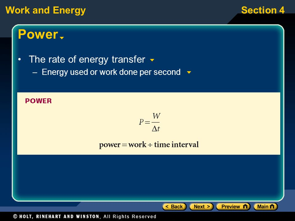 Power The rate of energy transfer Energy used or work done per second
