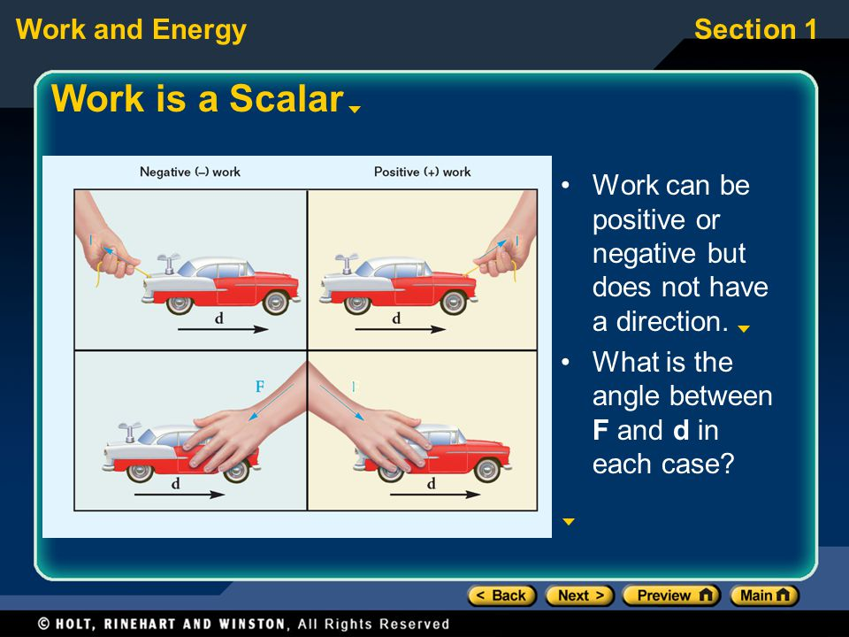 Work is a Scalar Work can be positive or negative but does not have a direction. What is the angle between F and d in each case