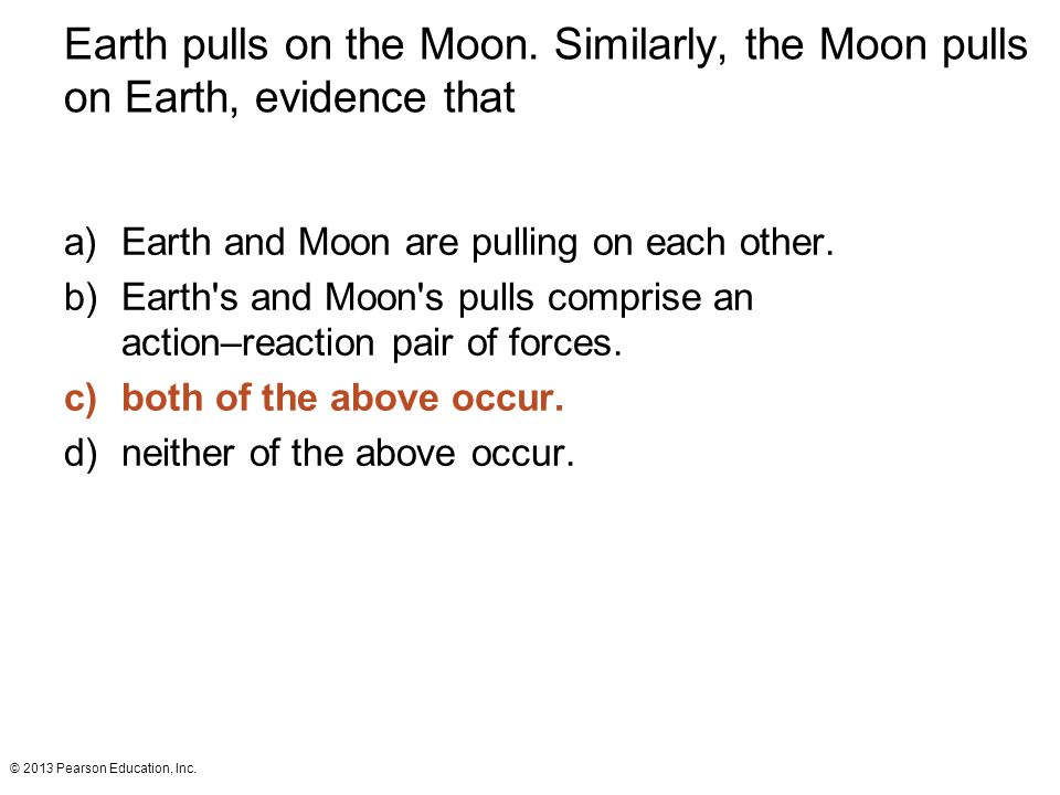 Earth pulls on the Moon. Similarly, the Moon pulls on Earth, evidence that
